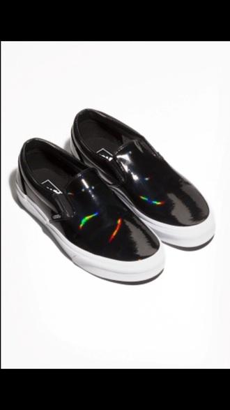 shoes black shoes vans iridiscent sneakers