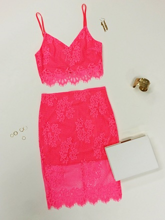 romper angl neon lace hot pink neon pink two-piece clutch cuff ring urban gold