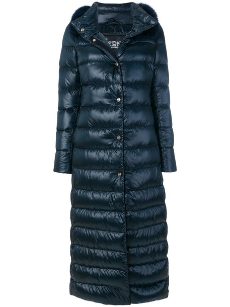 Herno parka long fur fox women cotton blue coat