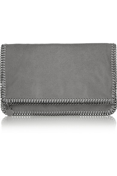 Stella McCartney | Falabella faux brushed-leather clutch | NET-A-PORTER.COM