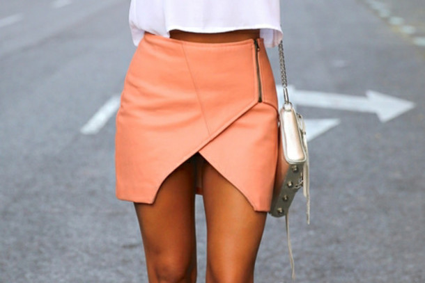 Skirt: orange, coral, 2014, fall outfits, girl, peach zip skirt ...
