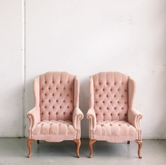 home accessory tumblr pink chair chair home decor blush pink quilted living room home furniture