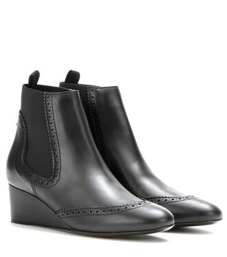 wedge boots boots leather black shoes