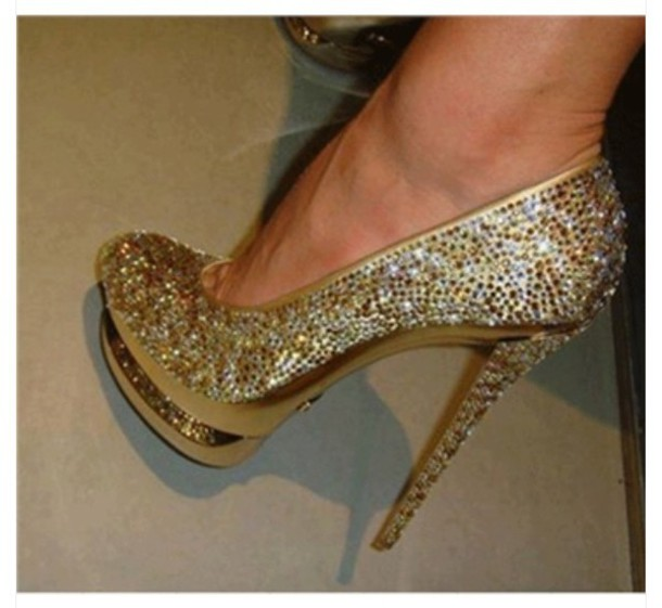 Shoes: gold, heels, prom, pumps, rhinestones, crystal, platform ...