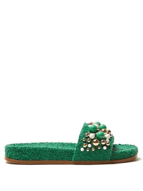 Aquazzura embellished green shoes