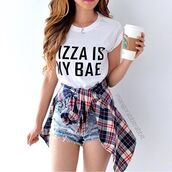 top,bae,pizza,pizza shirt,plaid,shorts,jeans,denim,starbucks coffee,party,lunch,summer,cute,boho,boho chic,chic,bohemian,style,ootd,shirt,white,outfithaus,date outfit