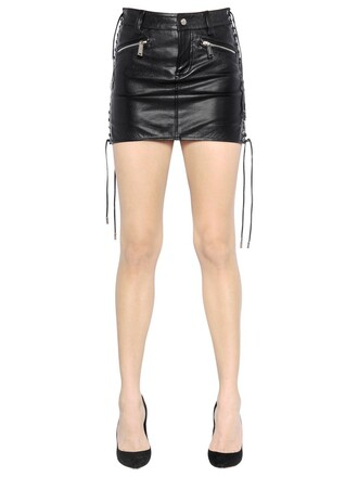 skirt mini skirt mini lace leather black