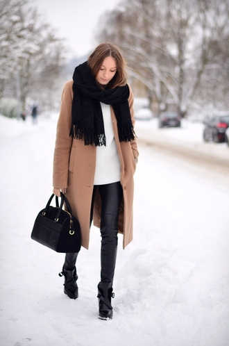 by annna blogger scarf bag camel coat winter outfits leather pants long coat coat shoes