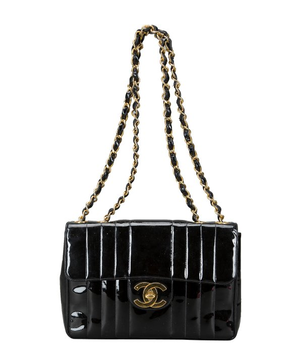 Chanel Pre-owned: black patent leather vertical quilt