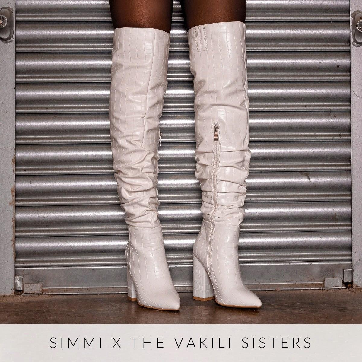 Eden White Croc Print Ruched Block Heel Thigh High Boots