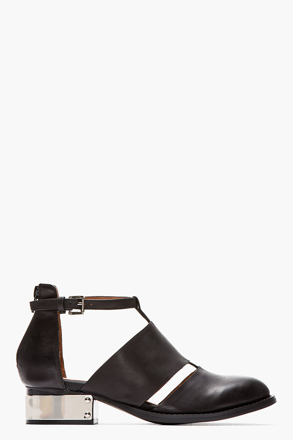 jeffrey campbell ssense exclusive black washed leather and silver carina flats