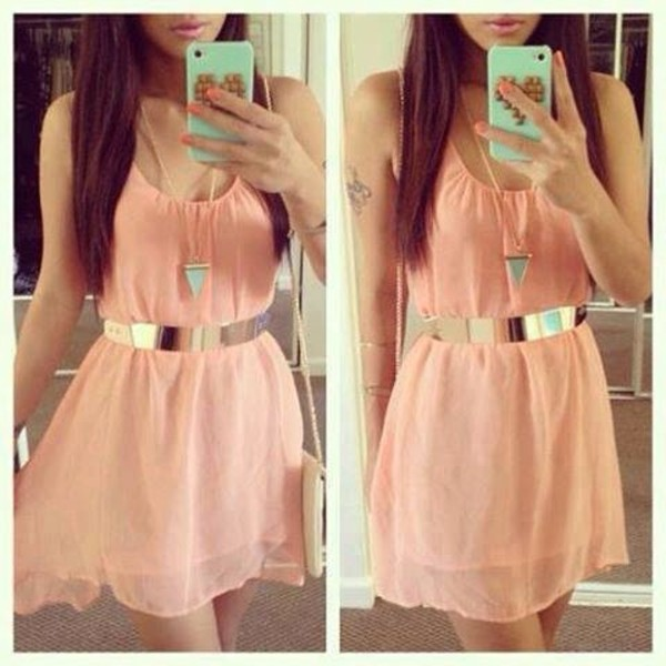 dress dress pink cute gold short nice belt jewels clothes fashion pink gold bag cute dress coral mini pretty peach pastel phone case necklace orange girl girly