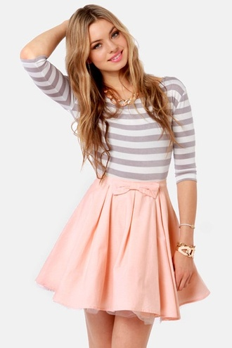 skater skirt peach skirt peach peach skater skirt peach bow skirt with bow skater skirt with bow peach skirt with bow peach skater skirt with bow cute outfit pretty outfit beautiful outfit adorable adorable outfit quarter sleeve quarter sleeve shirt striped shirt striped quarter sleeve shirt