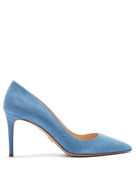 pumps suede light blue light blue shoes