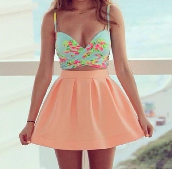 skirt peach skirt coral bouncy skirt blouse plshelp skaterskirt peach #highwasted #skaterskirt any color top dress türkis flowers peach dress shirt blue floral