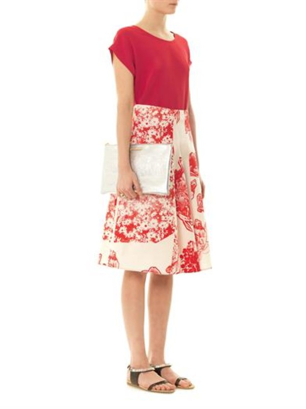 skirt fiona floral-print silk skirt midi skirt pink stella mccartney babeth gold & silver tone ring ring chloe clutch saint laurent caris silk top top silk top freda chocolate-brown crystal sandals sandals bag jewels shoes t-shirt