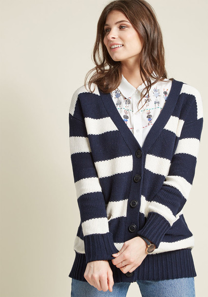 Mds1060 sweater striped sweater classic navy white blue