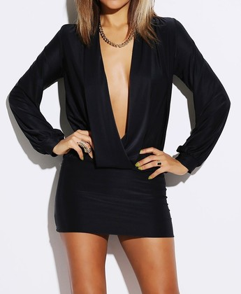 Draped V Mini Dress - Black - Modern Edge Clothing
