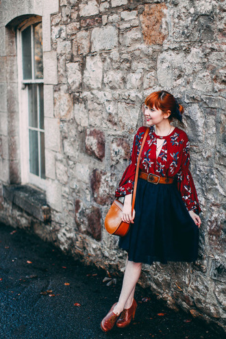 the clothes blogger midi skirt printed blouse red blouse belted dress
