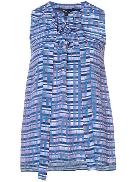 DEREK LAM blouse sleeveless women blue silk top