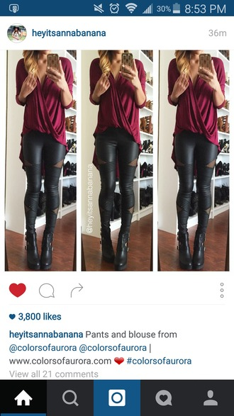 blouse draped top red top leather pants leather leggings wine red
