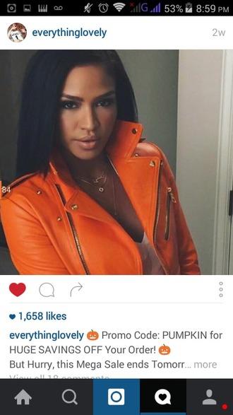 jacket orange bright leather jacket zip patent