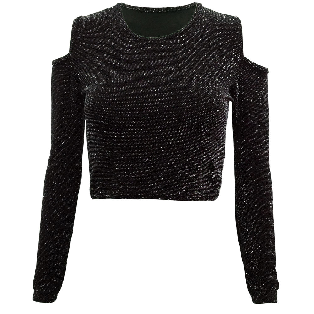 LADIES WOMENS SEXY CUT OUT SHOULDER LUREX METALLIC GLITTER LONG SLEEVE CROP TOP | eBay