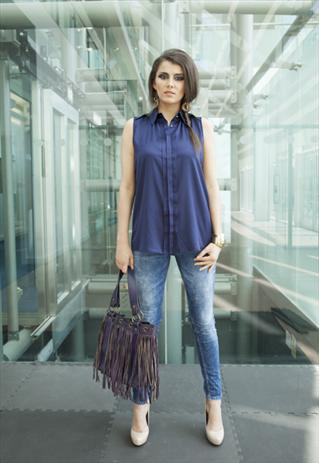Navy Satin Sleeveless Shirt / Blouse | Yan Neo London Boutique | ASOS Marketplace