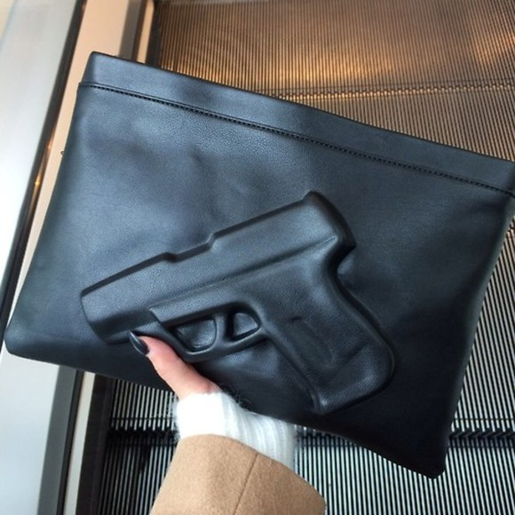 bag black gun leather clutch