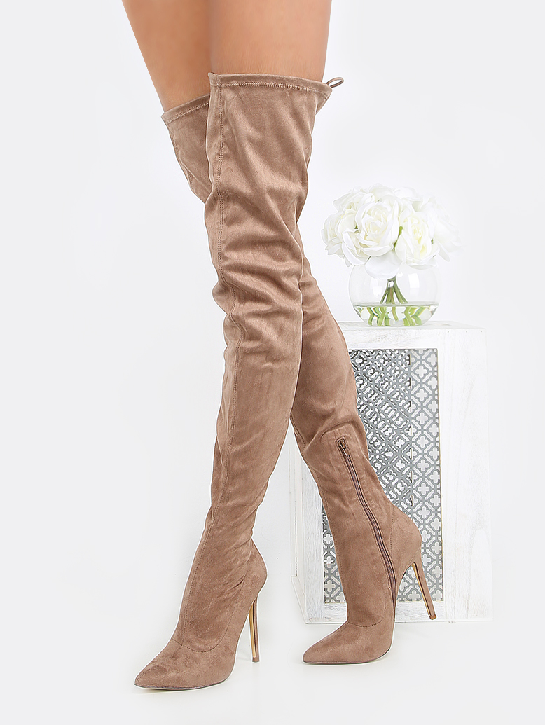 f88ae3d66b Pointed Toe Faux Suede Thigh Boots TAUPE -SheIn(Sheinside)