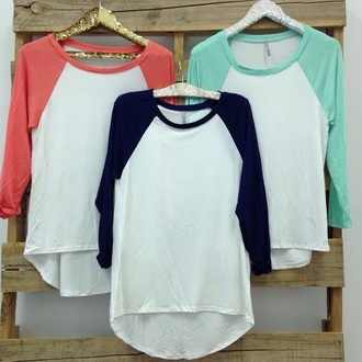 top baseball t-shirt baseball tee sportswear sporty girl cute teenagers tumblr indie rock alternative music pink white turquoise aqua navy comfy casual spring summer fall outfits winter outfits style fashion