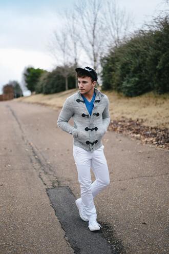 scout sixteen menswear blogger cardigan cap mens pants white jeans sweater shoes mens cap