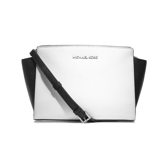 michael michael kors selma messenger bag optic white black. Black Bedroom Furniture Sets. Home Design Ideas