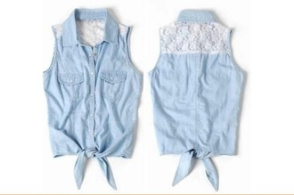 top shirt denim tie front sleeveless retro clothes tumblr where to find it