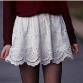 skirt,sweater,eyelet skirt,whiteskirt