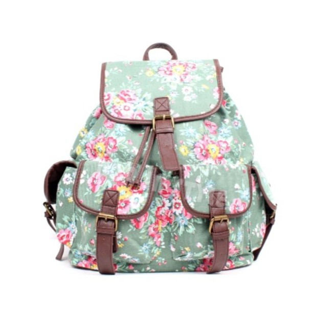 Bag Flowers Backpack Vintage Pink Blue Swag Nice Women