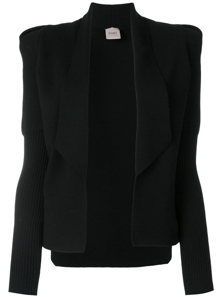 Nude - shoulder pad cardigan - women - Wool - 44, Black, Wool