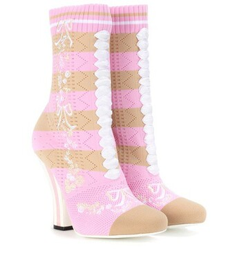 boots ankle boots knit pink shoes