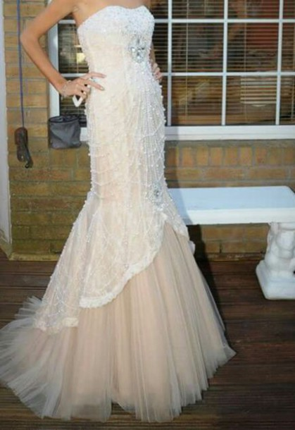 dress prom dress nude dress pearl dress fishtail dress
