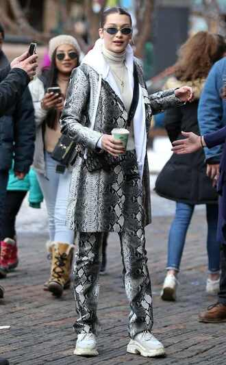 coat animal print snake print bella hadid streetstyle model off-duty turtleneck pants winter outfits