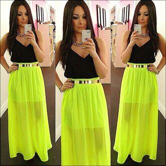 skirt neon lime