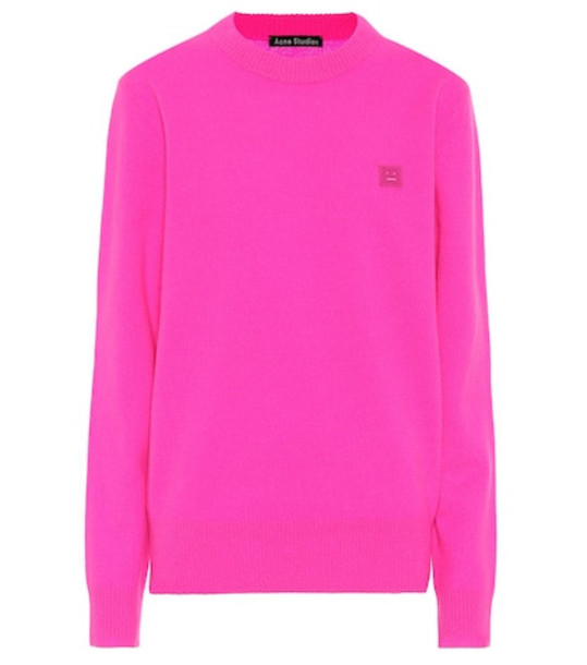 Acne Studios Nalon S Face wool sweater in pink