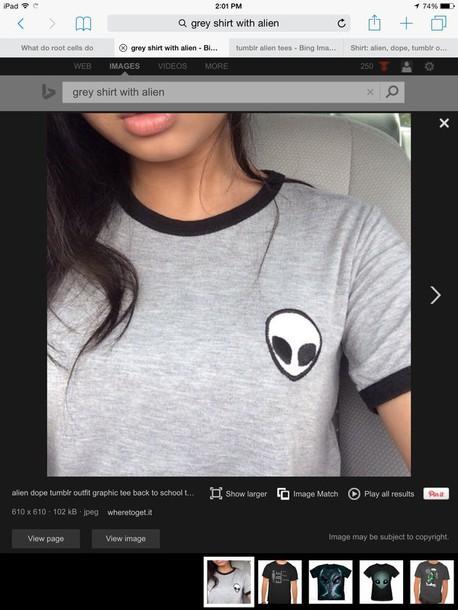 shirt grey t-shirt alien alien shirt blouse