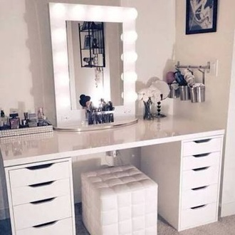 home accessory white mirror light desk drawers