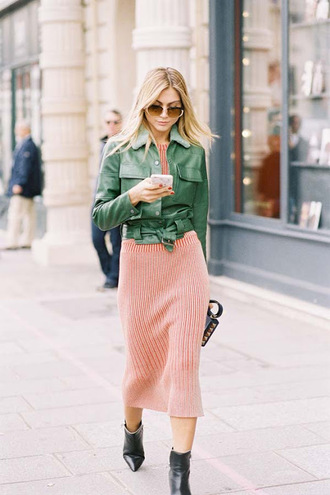vanessa jackman blogger jacket ankle boots green jacket knitted dress midi dress fall outfits dress boots shoes