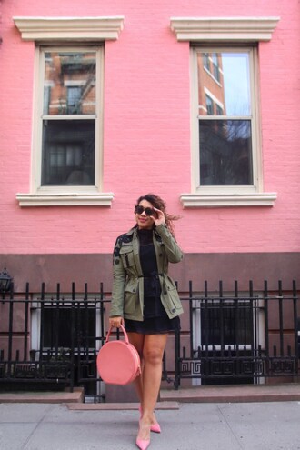 colormecourtney blogger sunglasses dress shoes bag t-shirt blouse jewels top skirt green jacket round bag pink heels high heel pumps pink bag