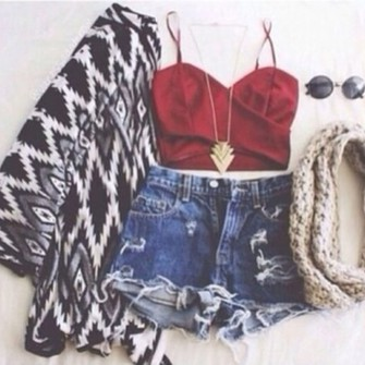 pants shorts tank top style jacket cardigan shirt red top sweater scarf top crop tops jewels necklace gold triangle aztec black & white red jeans black sunglasses t-shirt white tribal cardigan sexy aztec sweater denim shorts scarf red