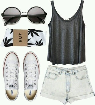 shorts high waisted shorts hipster shorts weed socks top shoes sunglasses socks cuffed shorts huf