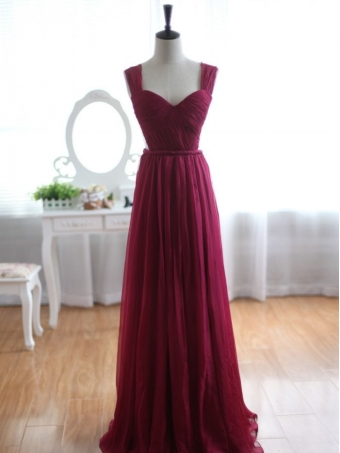 Wine Red A-line Chiffon Floor-Length Bridesmaid Dress, Prom Dress [B00221] - $172.99 : 24inshop