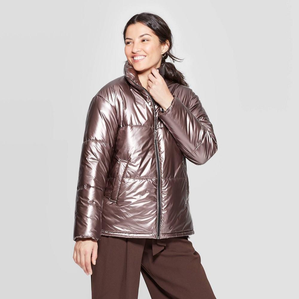 Women's metallic puffer jacket - a new day&™ rose m